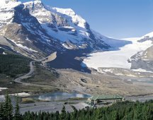 Aerial Columbia Icefield Chalet, Interpretive Centre, and Athabasca Glacier Jasper National Park  - Photo Credit: Tourism Alberta